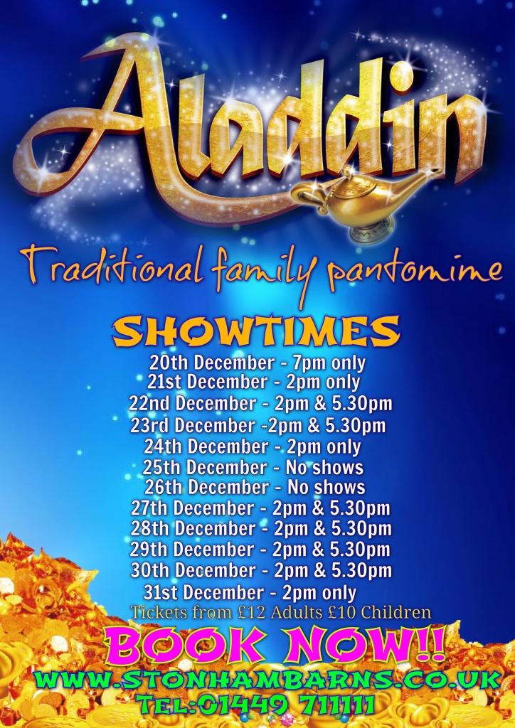Updated Aladdin Panto Showtimes 10 09 19 Stonham Barns